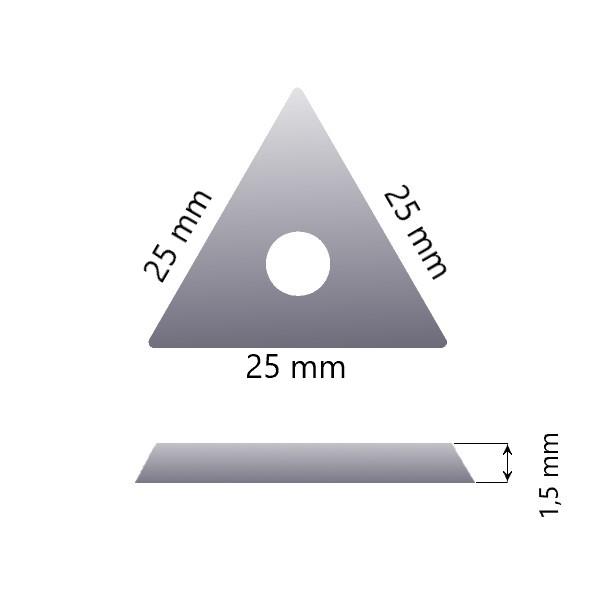 Maalikaapimen eli skraban varaterä 25mm, kolmio(Bahco', Sandvik', Storch', Friess-Techno'(i)lle)